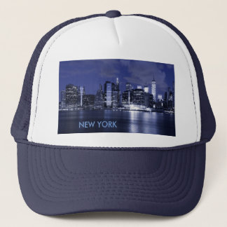 New York Skyline Bathed in Blue Trucker Hat