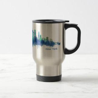 New York Skyline blue Watercolor v05 Travel Mug