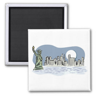 New York Skyline by Moonlight 2 Inch Square Magnet