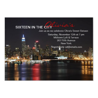 "New York Skyline by Night Invitation 5"" X 7"" Invitation Card"