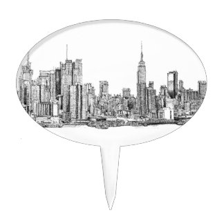 New York skyline cake topper