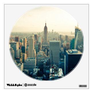 New York Skyline Circle Window Wall Sticker