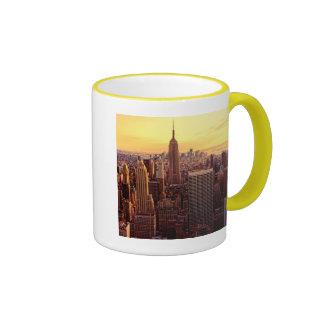 New York skyline city with Empire State Ringer Mug