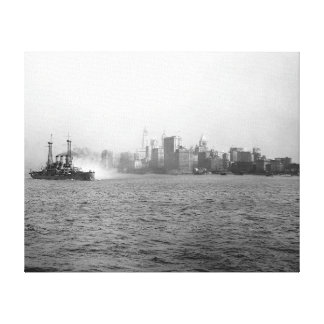 New York Skyline from Harbor, 1920 Canvas Print