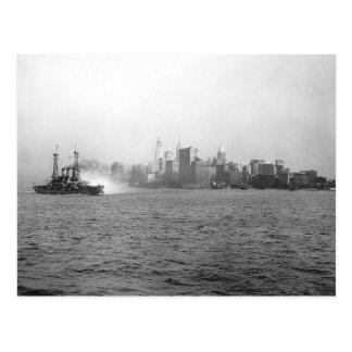 New York Skyline from Harbor, 1920 Postcard
