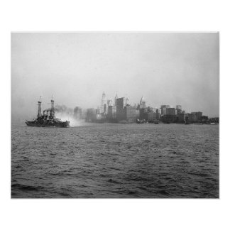 New York Skyline from Harbor, 1920. Vintage Photo Poster