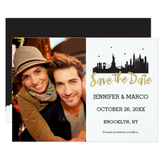 New York Skyline Gold Script Save the Date Card