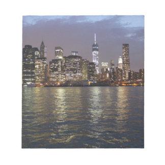 New York skyline Hudson River World Trade Center Notepad