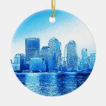 new york, skyline, iceblue christmas ornament