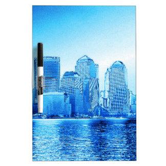 new york, skyline, iceblue dry erase white board