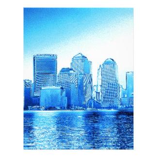 new york, skyline, iceblue personalized letterhead