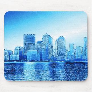 new york, skyline, iceblue mouse pad