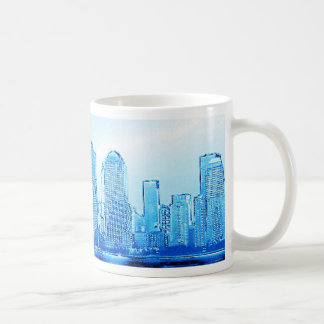 new york, skyline, iceblue coffee mugs