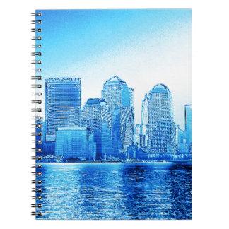 new york, skyline, iceblue spiral note books