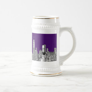 New York skyline in purple 18 Oz Beer Stein