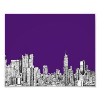 New York skyline in purple Photo Print