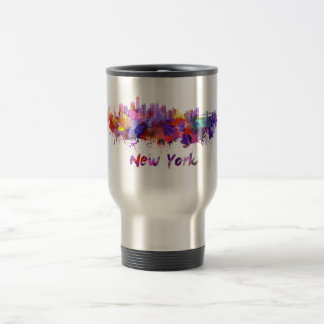 New York skyline in watercolor Travel Mug