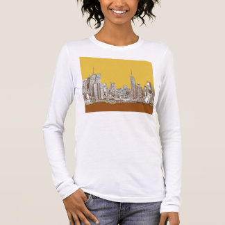 New York skyline in yellow Long Sleeve T-Shirt