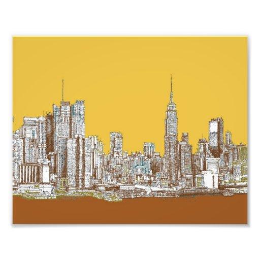 New York skyline in yellow Photo Print