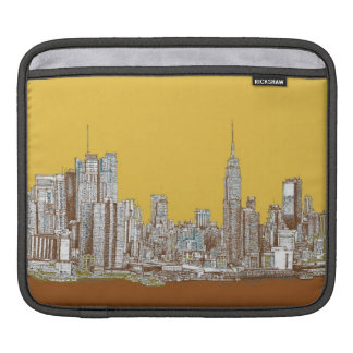 New York skyline in yellow Sleeve For iPads