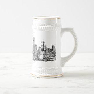 New York skyline ink beer stein