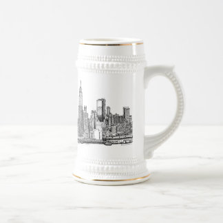 New York skyline ink beer stein 18 Oz Beer Stein