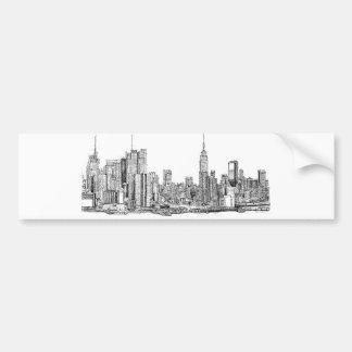 New York skyline ink Car Bumper Sticker
