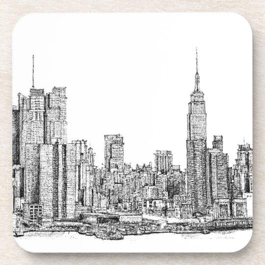 New York skyline ink coaster