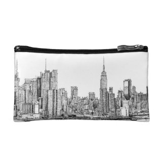 New York skyline ink cosmetic bag