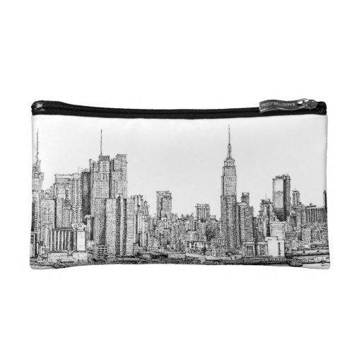 New York skyline ink cosmetic bag