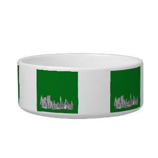 New York skyline ink in green Bowl