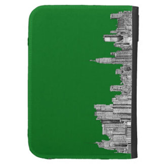 New York skyline ink in green Kindle Keyboard Covers
