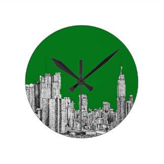 New York skyline ink in green Wall Clock