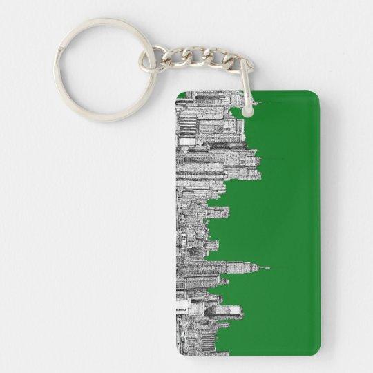 New York skyline ink in green Keychain