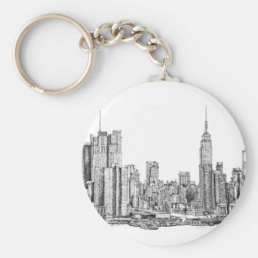 New York skyline ink keychain