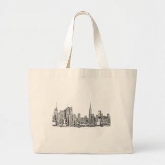 New York skyline ink Large Tote Bag