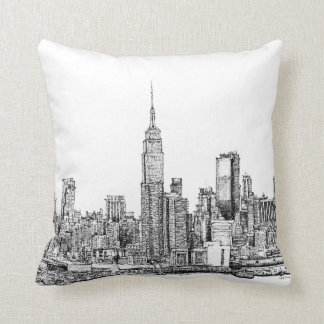 New York skyline ink pillows