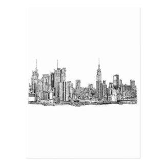 New York skyline ink Postcard
