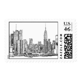 New York skyline ink stamps