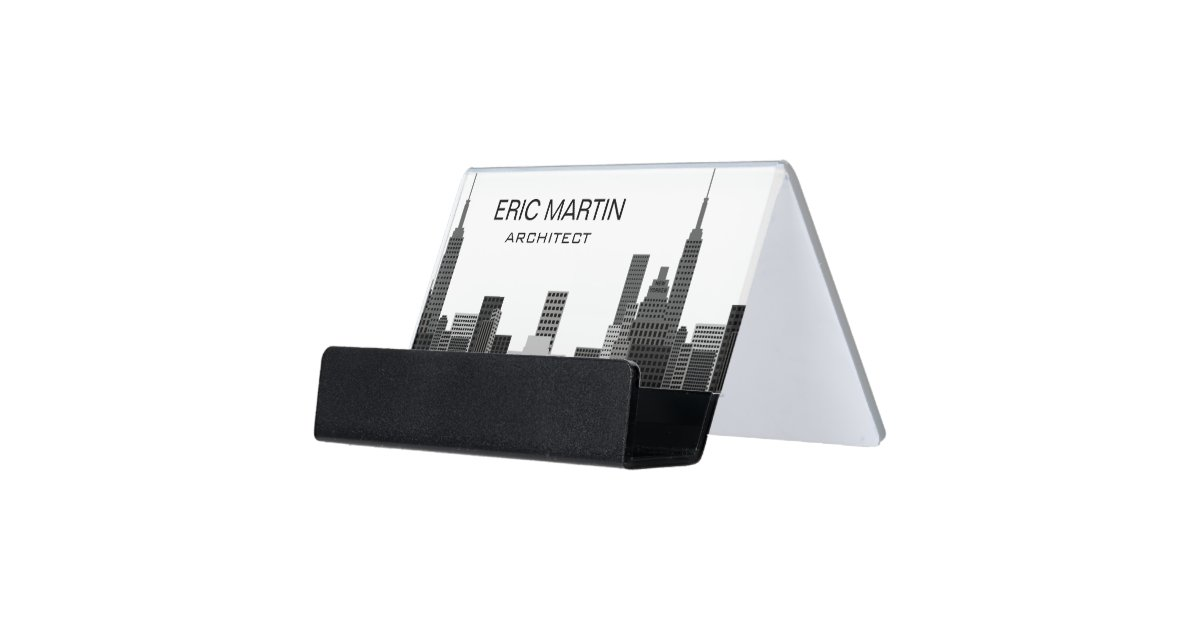 New York Skyline Modern Professional Personalized Desk Business Card ...