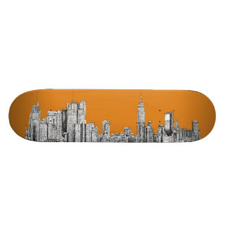 New York skyline orange Skate Boards