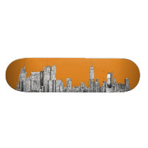 New York skyline orange Skateboard Deck