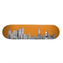 New York skyline orange Skateboard Deck