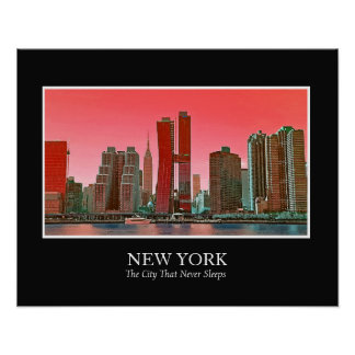 New York Skyline Photograph Frame Personalize Poster