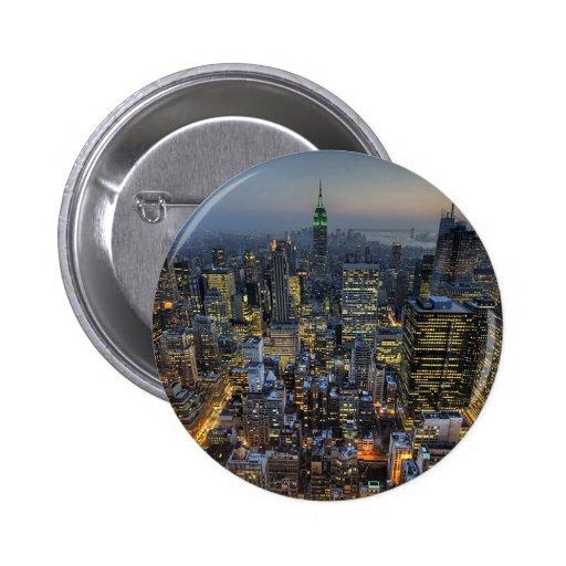New York Skyline Pinback Buttons