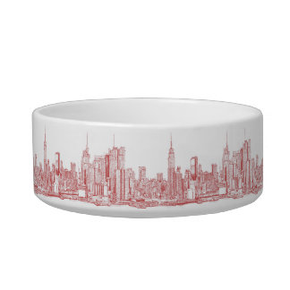 New York skyline pink red Bowl