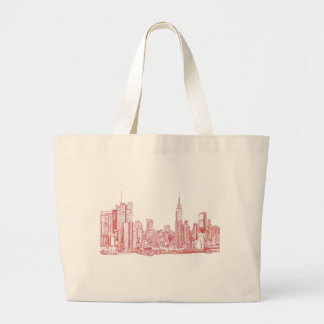 New York skyline pink red Large Tote Bag