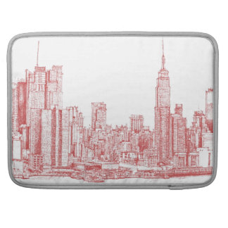 New York skyline pink red MacBook Pro Sleeve