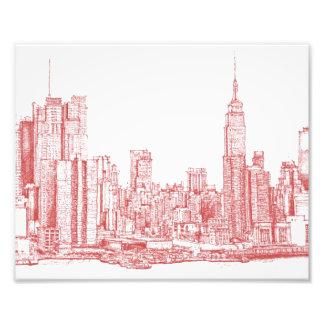 New York skyline pink red Photograph
