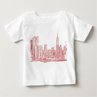 New York skyline pink red Tshirt